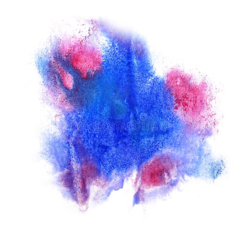 Paint blue, pink splash ink blot and white abstract art brushes. Isolated royalty free stock image