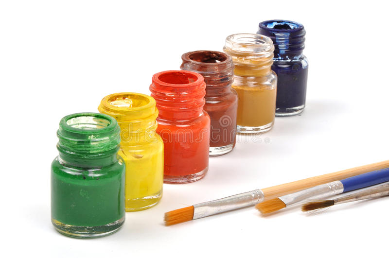Download Paint bottles & brushes stock photo. Image of green, artist -  9770962