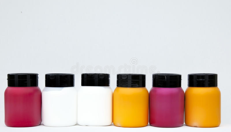 Paint Boxes Cans Lined Stock Photo