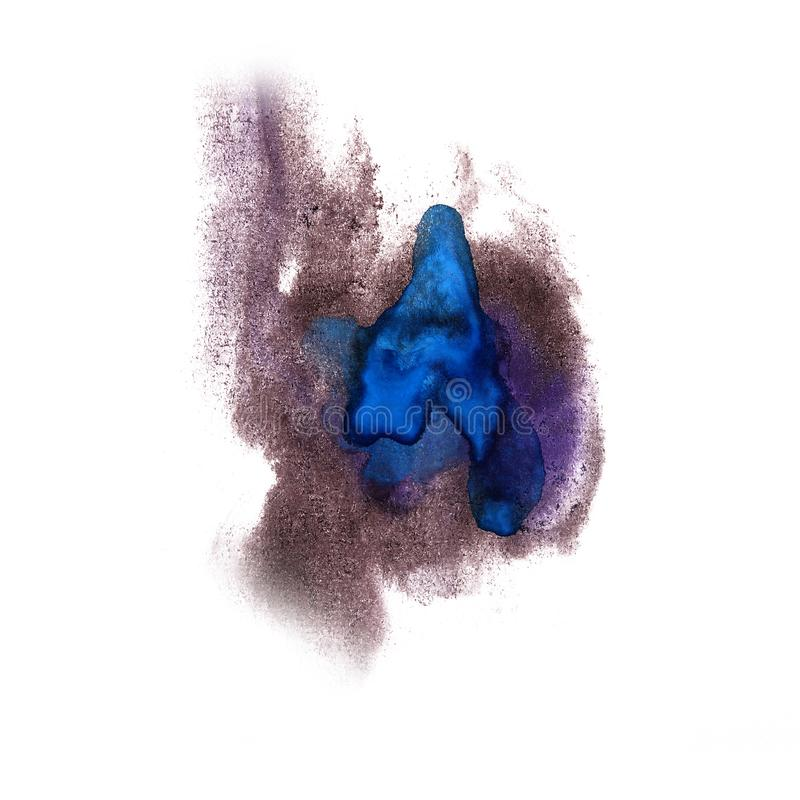 Paint brown, blue splash ink blot and white abstract art brushe. S isolated stock images
