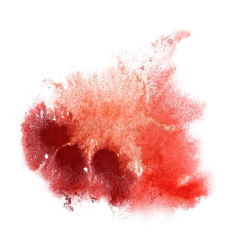 Paint brown, red splash ink blot and white abstract art brushes. Isolated stock photo
