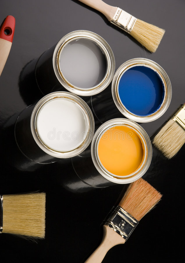 PAINT AND BRUSH. Let your world be colourful royalty free stock images