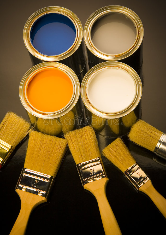 PAINT AND BRUSH. Let your world be colourful royalty free stock photo