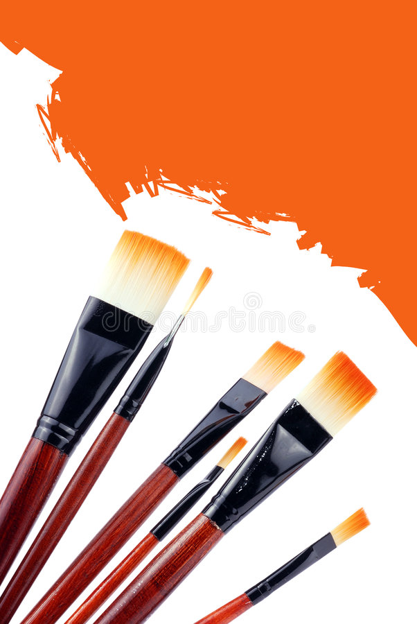 Paint Brush. Showing on half drawing background royalty free stock photos