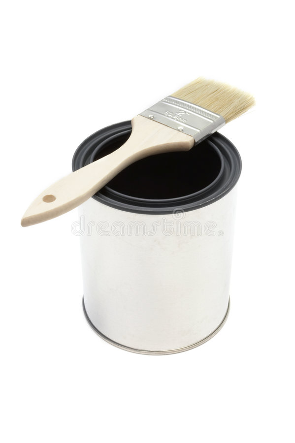 Paint brush and bucket. New paint brush and bucket royalty free stock photo