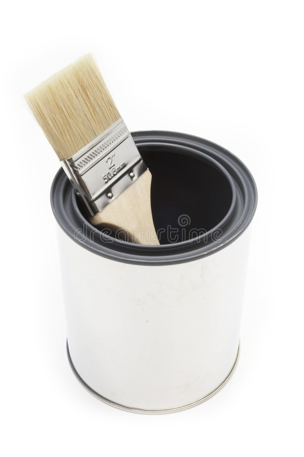 Paint brush and bucket. New paint brush and bucket royalty free stock image