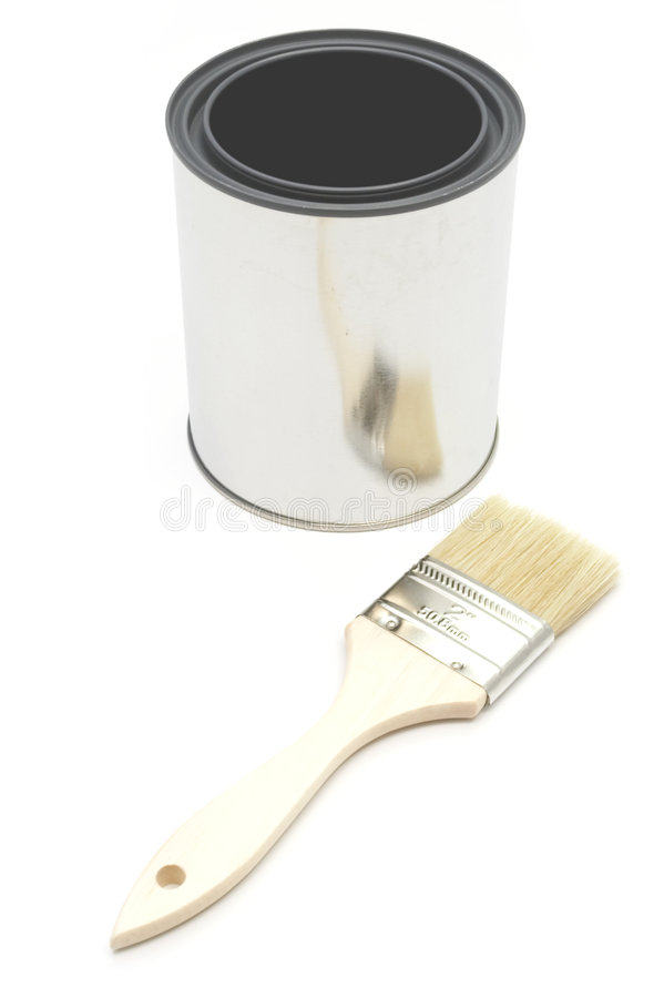 Paint brush and bucket. New paint brush and bucket royalty free stock photography