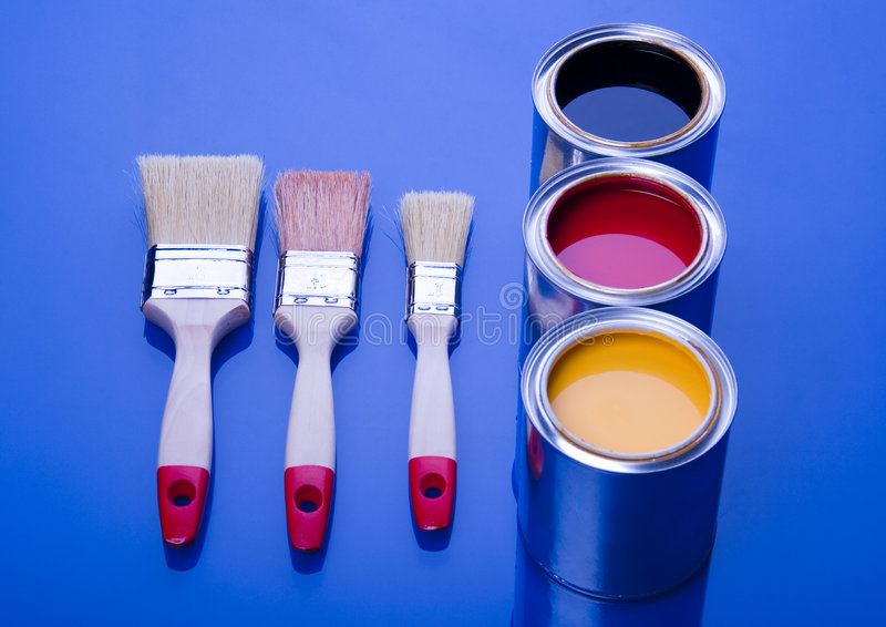 PAINT BRUSH AND CAN. Let your world be colourful stock photos