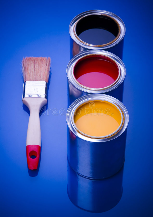 PAINT BRUSH AND CAN. Let your world be colourful royalty free stock image