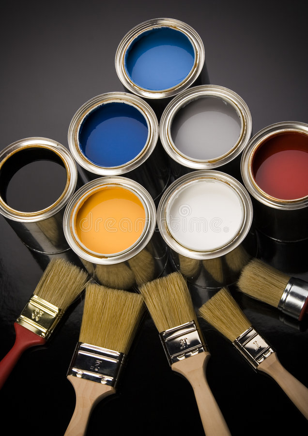 PAINT BRUSH AND CAN Stock Photography