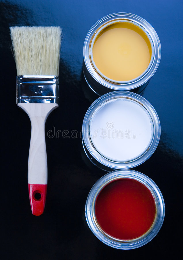PAINT BRUSH AND CAN. Let your world be colourful royalty free stock photo