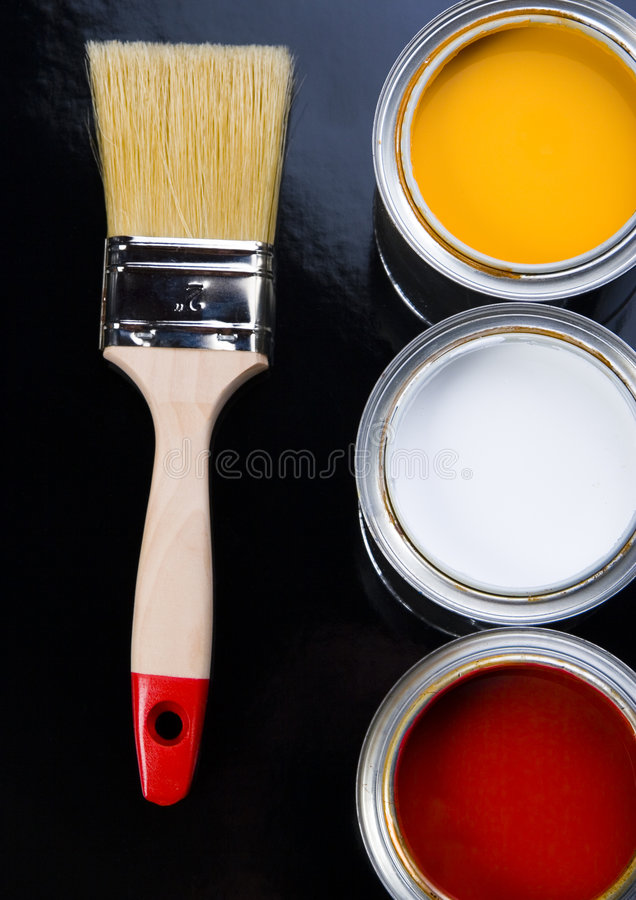 PAINT BRUSH AND CAN. Let your world be colourful stock image