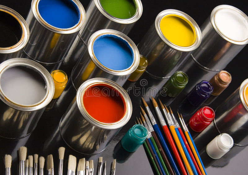 PAINT BRUSH AND CAN. Let your world be colourful royalty free stock images