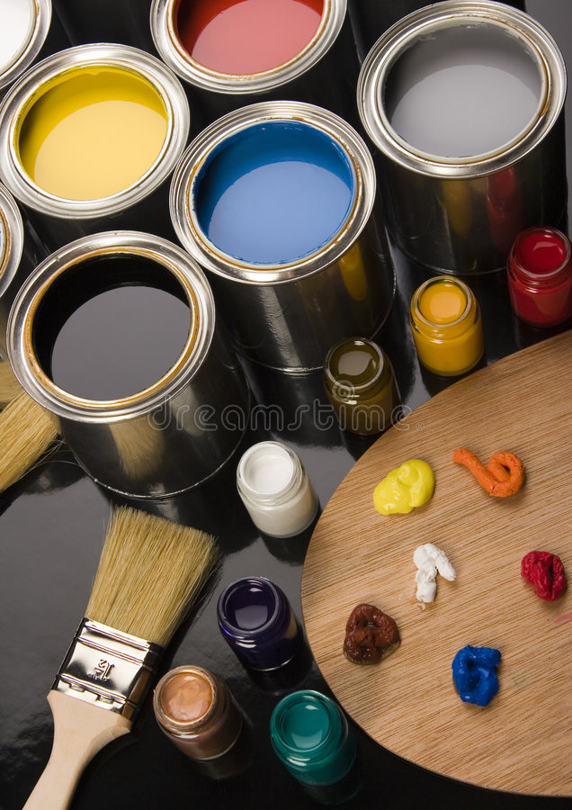 PAINT BRUSH AND CAN. Let your world be colourful stock images