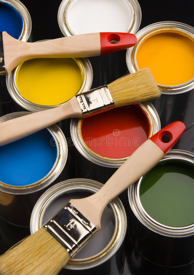 PAINT BRUSH AND CAN. Let your world be colourful royalty free stock photography
