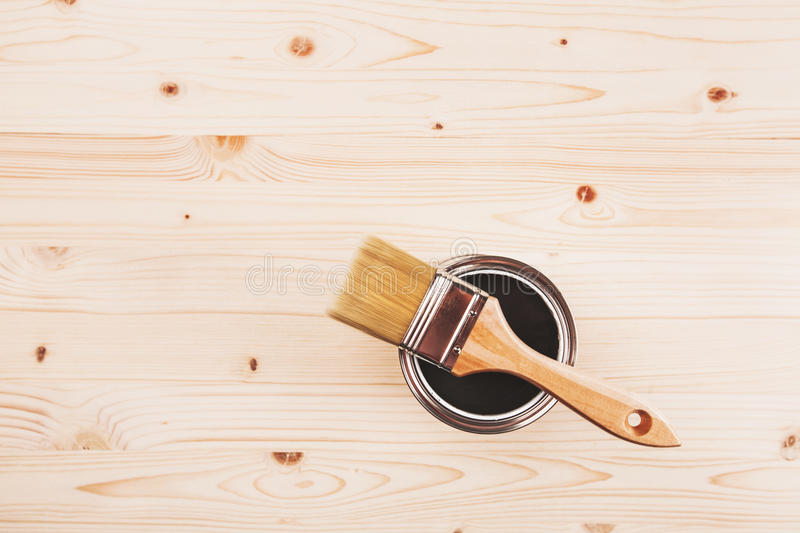 Paint brush on the can royalty free stock photography