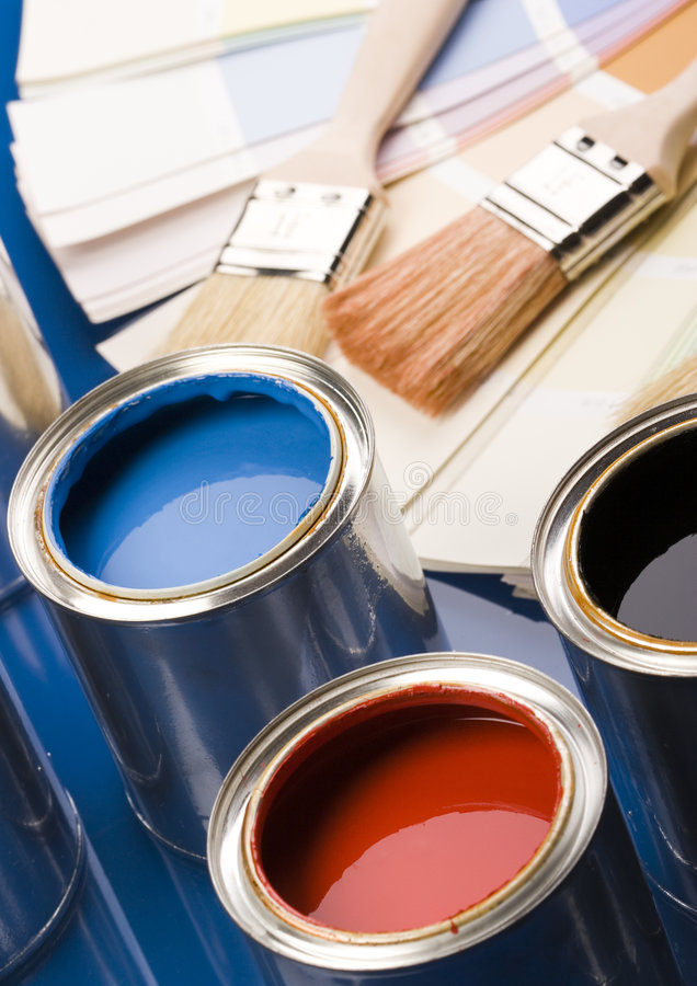 Paint brush and cans. Let your world be colourful stock photos