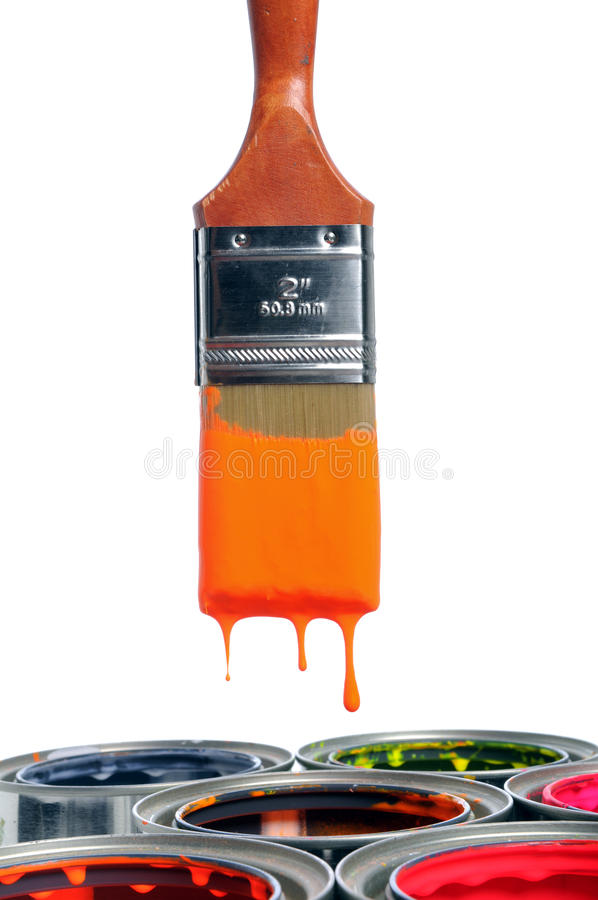 Paint Brush Dripping Over Open Cans. Isolated over white background royalty free stock images