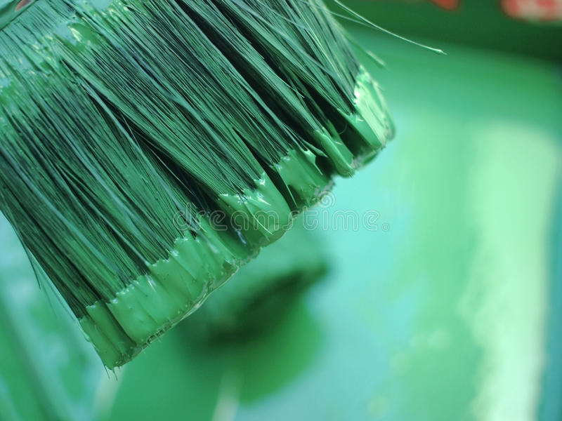 Paint brush in green color. Paint brush in a recipient with green tint stock photo