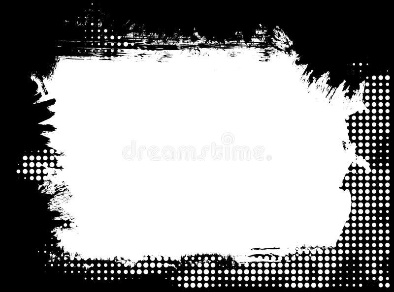 Paint brush grunge halftone border frame royalty free illustration