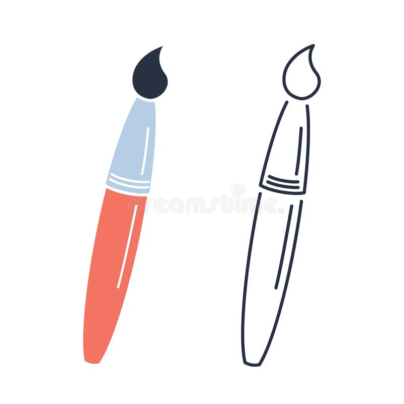 Paint brush icon. Drawing concept minimalistic outline and color royalty free illustration