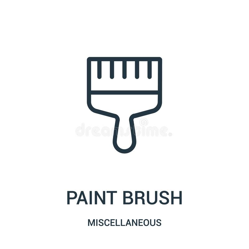 Paint brush icon vector from miscellaneous collection. Thin line paint brush outline icon vector illustration. Linear symbol for. Use on web and mobile apps stock illustration
