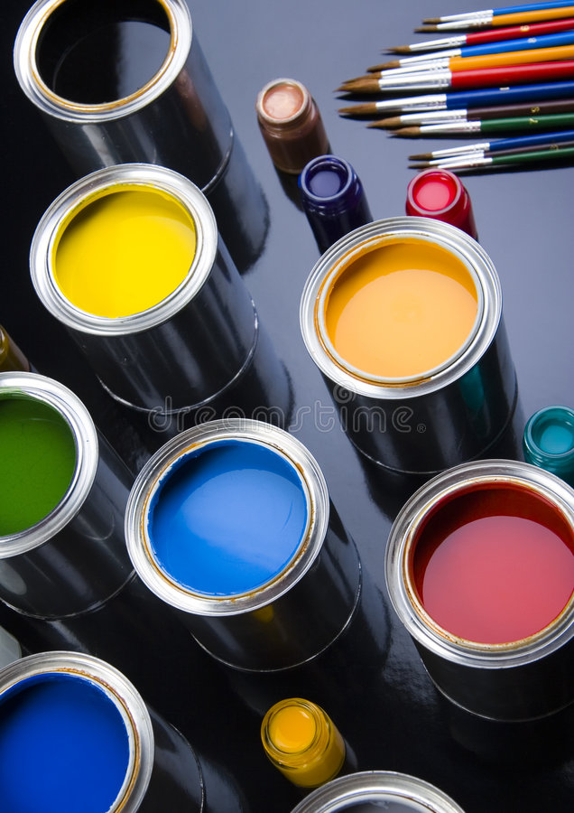 PAINT BRUSH AND PAINT. Let your world be colourful royalty free stock images