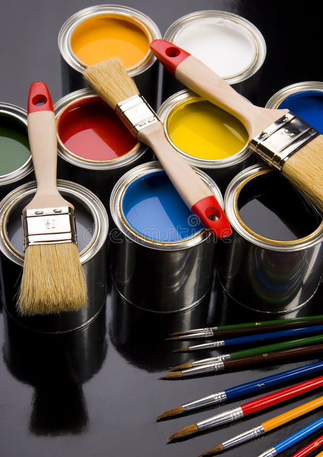 PAINT BRUSH AND PAINT. Let your world be colourful royalty free stock photo