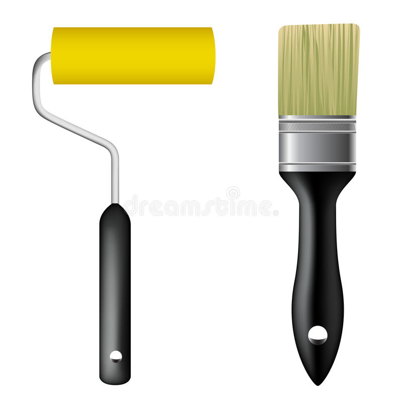 paint brush and paint roller stock vector illustration of roller decorate 15043933. Black Bedroom Furniture Sets. Home Design Ideas