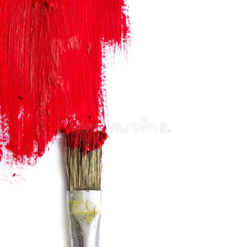 Free Paint Brush Paints The White Surface With Red Color, Concept Rep Royalty Free Stock Photos - 67833828