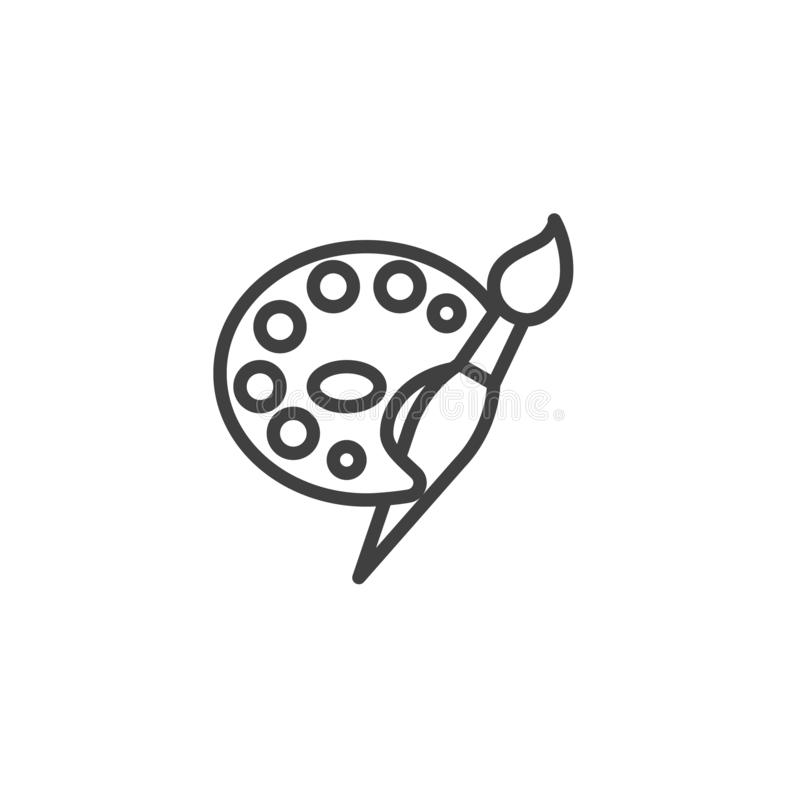 Paint brush and palette line icon royalty free illustration