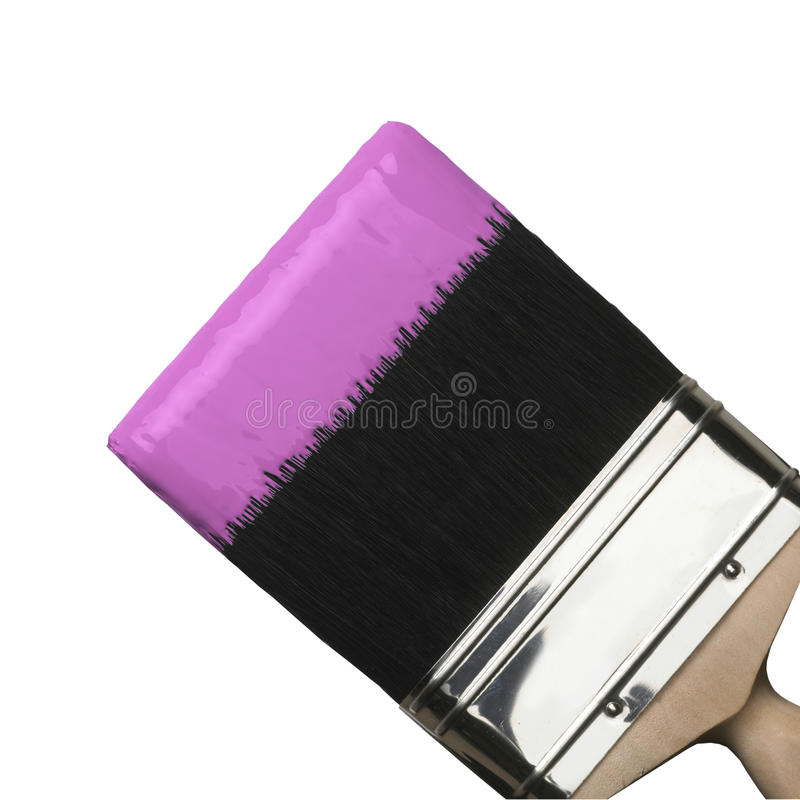 Paint brush with pink paint stock photography