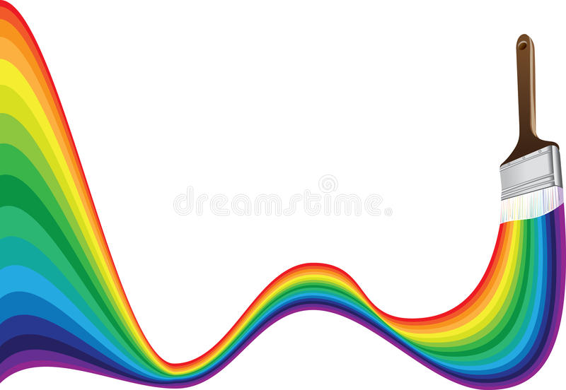 Paint brush with a rainbow stroke stock illustration