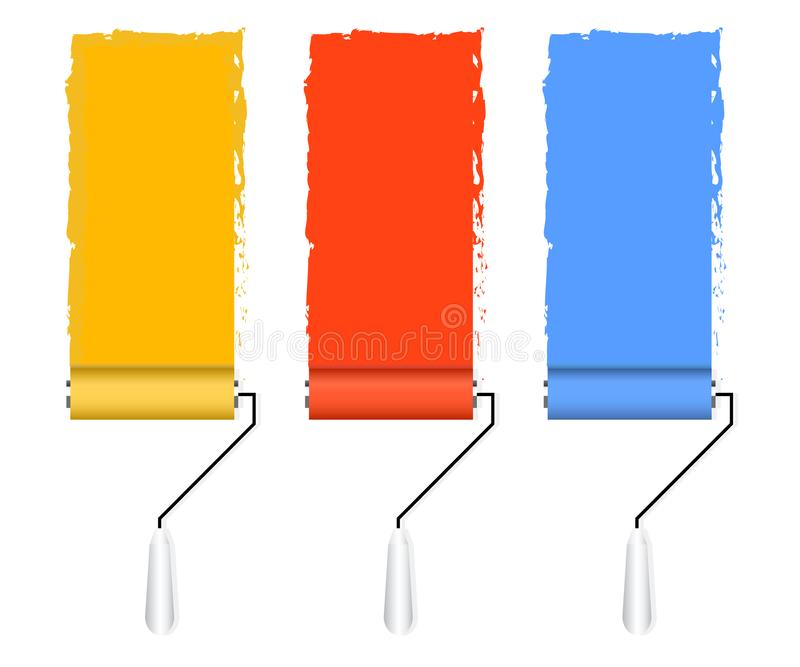 Paint brush and paint roller. stock illustration