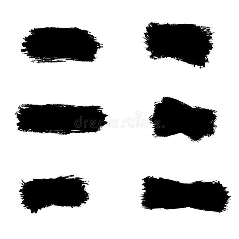 Paint brush spots, highlighter lines or felt-tip pen marker horizontal blobs. Marker pen or brushstrokes and dashes royalty free illustration