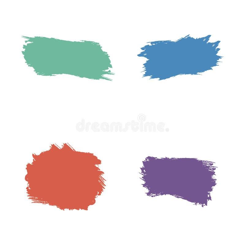 Paint brush spots, highlighter lines or felt-tip pen marker horizontal blobs. Marker pen or brushstrokes and dashes vector illustration