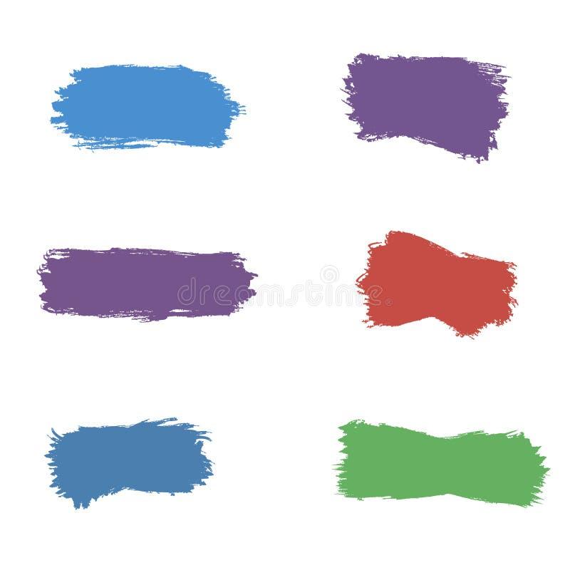 Paint brush spots, highlighter lines or felt-tip pen marker horizontal blobs. Marker pen or brushstrokes and dashes stock illustration