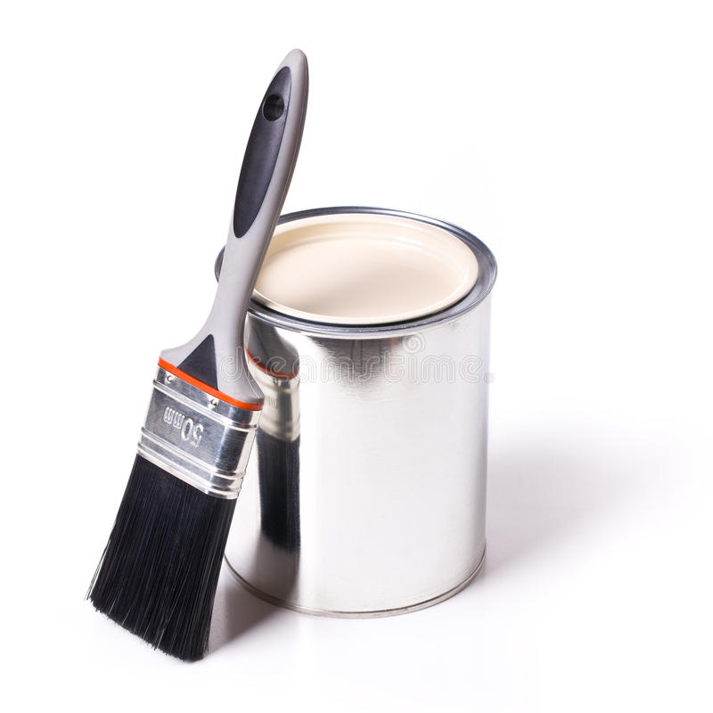 Paint brush and tin can. On white background royalty free stock image