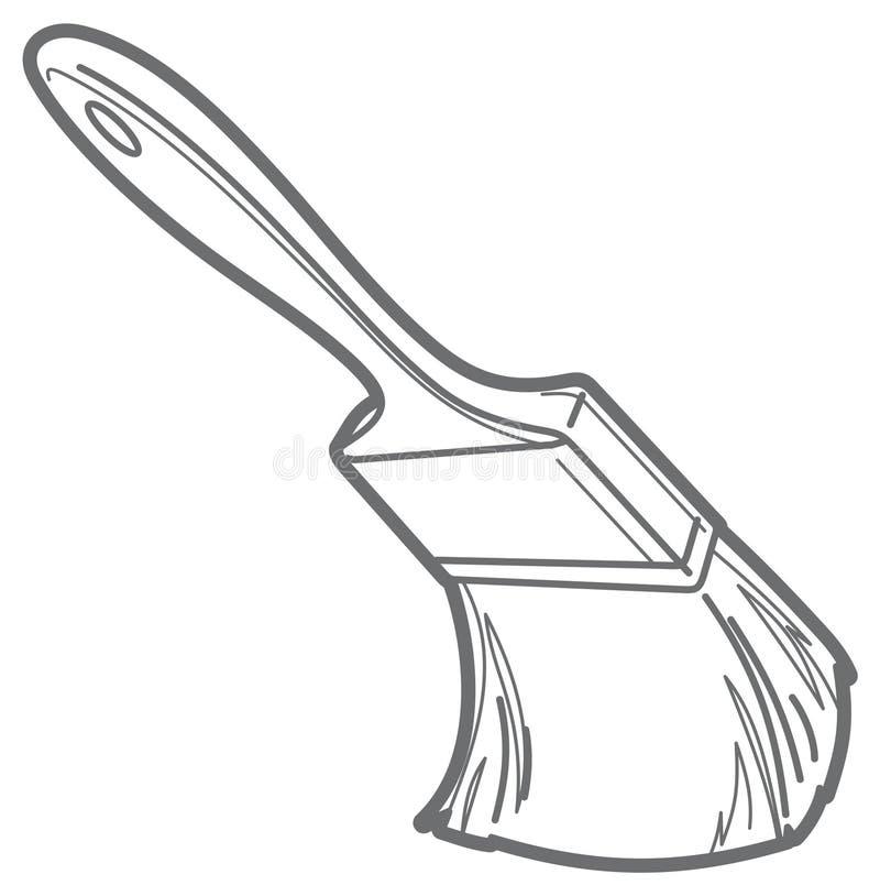 Paint brush. Vector outline stock illustration