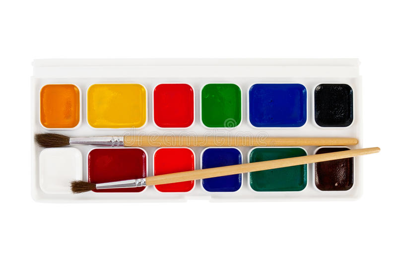 Paint with brushes stock photo