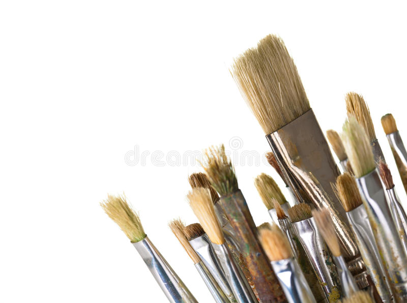 Paint Brushes. Isolated on white background, macro shot with empty room for text stock photos