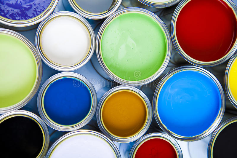 Paint and brushes, bright colorful tone concept stock photo