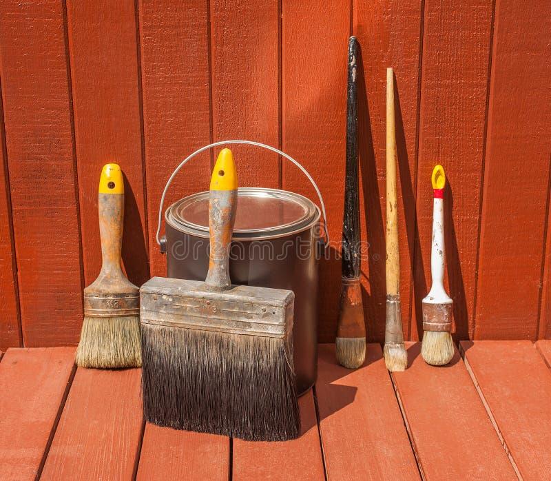 Painter S Brush Staining Deck Stock Photo Image Of