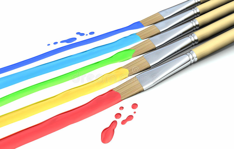 Download Paint Brushes and colors stock illustration. Image of paintbrush - 24814207