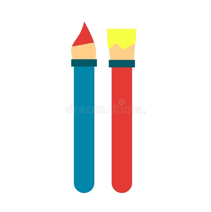 Paint brushes flat icon stock illustration