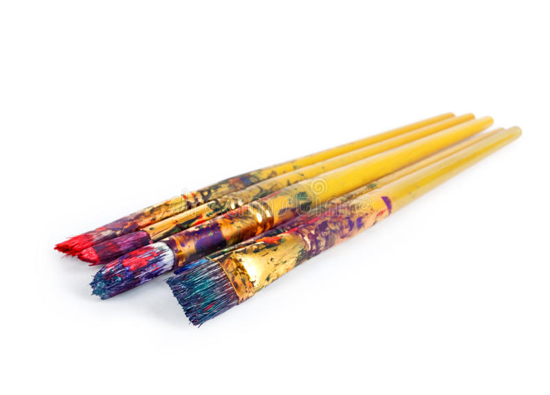 Paint brushes with gouache royalty free stock photography