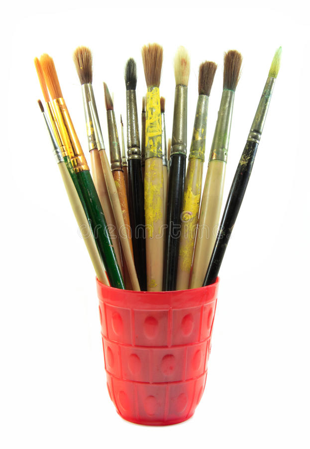 Paint brushes set in the red cup royalty free stock image