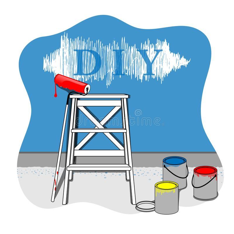 Painting the house with oil paint. Vector DIY illustration Home decoration whitewash vector illustration