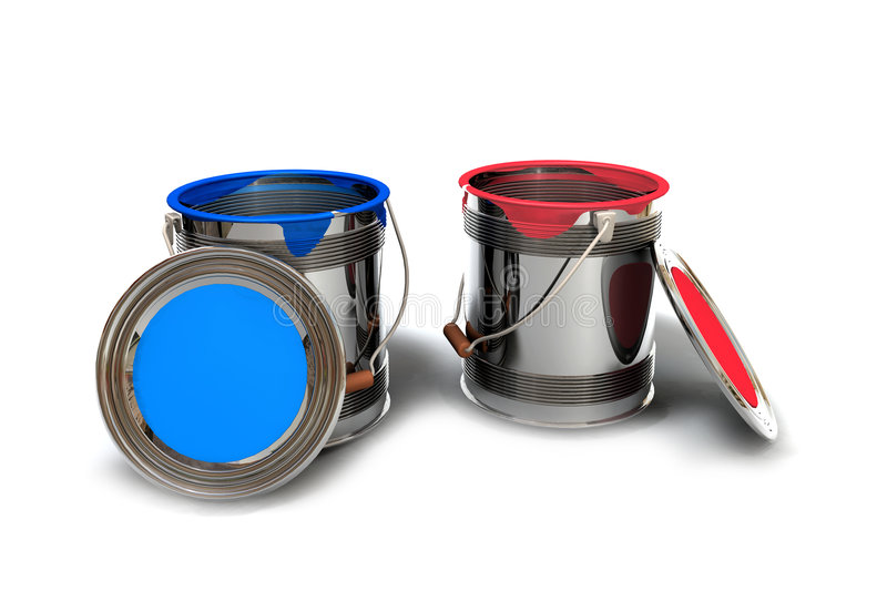 Paint in bucket. Overview face view with a blue and red bucket