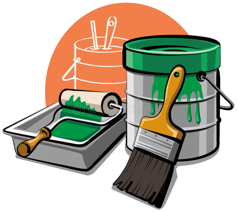 Paint bucket and brush stock illustration. Illustration of container - 18882120